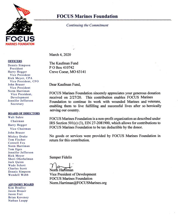 Focus Marines Foundation letter